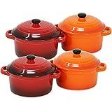 com-four® 4x Cacerola con tapa hecha de cerámica - Cazuela de hierro fundido en naranja...