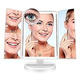 FASCINATE Espejo Maquillaje con Luz,Tríptica Aumentos 10x, 3X, 2X,1x Magnetismo...