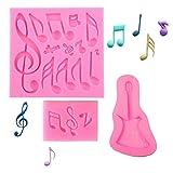 Molde de silicona con diseño de notas musicales, 3 unidades, para decoración de tartas,...