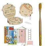 Caja dientes de leche con cepillo dientes bambú y puerta mágica del Ratoncito Pérez +11...