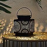 Lights4fun Farol Solar en Metal Negro de 12cm Estilo Marroquí con LED Blanco Calido para...