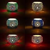 SET de 6 unidades Farol de mosaico oriental Ajan 9 cm Variedad de colores | Portavelas de...
