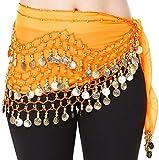 - Hoter pañuelo de gasa con monedas doradas colgando para danza del vientre, a la cadera,...