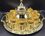 Juego de té marroquí Completo, Tetera 1600 ml, Bandeja de 40 cm diámetro con asas y 12...