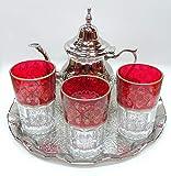Kenta artesanias Juego de te marroquí, 3 Vasos Arabes, Míni Tetera metálica + un...