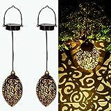 Gadgy Set de 2 Farolillos solares | para decoracion jardin exterior | Lampara marroqui con...