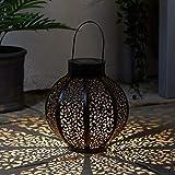 Lights4fun Grande Farol Solar Estilo Marroquí de 24cm con LED Blanco Cálido para...