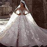 QING XIN-1225 Wedding Dress,Prom Dresses Rebordeó la Novia de la Boda Floral 3D Vestido...