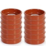 Pack de 12 cazuelas redondas de barro, diámetro exterior 13.9 cm, diámetro interior 12.3...