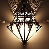 Marrakesch L1428 - Lámpara de pared (42 x 32 cm, metal y vidrio opalino), diseño...