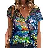 Elesoon Camiseta de verano para mujer, talla grande, manga corta, diente de león...