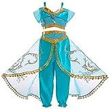 Cozyhoma - Disfraz de Jasmine, traje de princesa árabe con lentejuelas para niñas,...