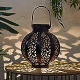 Lights4fun Farol Solar Estilo Marroquí de 17cm con LED Blanco Cálido para Exteriores