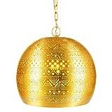 Lámpara Oriental Marroquí - lamparilla colgante - farola de techo Herera Dorado - 30cm -...