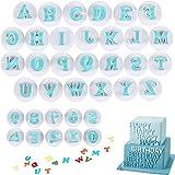 jingming Moldes reutilizables con letras y números, para fondant, alfabeto, decoración...