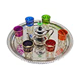 Juego de té moruno, árabe, Marruecos. 6 vasos más tetera de alpaca para dos personas y...