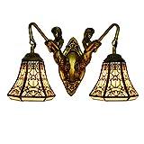 Lámpara de pared antigua 6 'Pasillo de la sirena moderna británica Tiffany Doble cabeza...