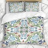 Conjuntos de ropa de cama simétrica azul antigua mayólica vintage en azulejos antiguos...