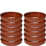 Pack de 12 cazuelas redondas de barro, diámetro exterior 19.6 cm, diámetro interior 17.7...
