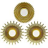 BONNYCO Espejos Pared Decorativos Dorados Pack 3 Espejos Decorativos Ideales para...