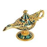 Lámpara de luz Genie, luz de Aladdin Magic Genie Light Metal tallado lámpara de leyenda...