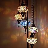 Lámpara de pie turco marroquí de Tiffany de mosaico turco adaptable 5 globos, para...