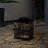 Lights4fun Farol Solar en Metal Negro de 19,5cm Estilo Marroquí con LED Blanco Calido...