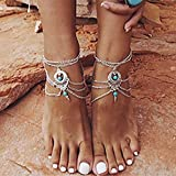 Fashband Silver Turquoise Tobilleras Vintage Summer Layered Tobillo Borla Pulsera Boho...