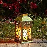 Tomshine Linterna Solar con Vela Efecto Luz LED Solar Jardín Lámpara,Estilo Vintage,...