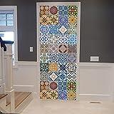 Moda 3D árabe azulejo pegatina puerta pegatinas dormitorio sala de estar puerta...