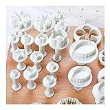 longyisound Juego de moldes para fondant, 33 piezas, moldes para galletas, herramienta de...