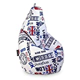 HAPPERS Puff Pera Estampado para Salón o Dormitorio London XL