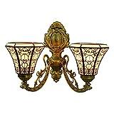 Lámpara de pared estilo Tiffany de 2 cabezas creativa árabe vidriera de pared hacia...