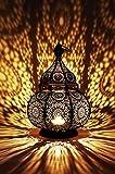 Farol oriental de metal Lamis negro 30 cm | Portavelas marroquí para jardín | Farol de...