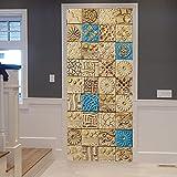 DNFurniture Door Mural 3D Azulejos Árabes Simples 77X200Cm Pvc Impermeable Autoadhesivo...