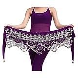 YiJee Profesional Multi-Row Lentejuelas Danza del Vientre Cinturón Oscuro Púrpura