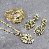Conjunto de joyería de Boda de Marruecos, Pendiente de Gota de Color Dorado, Brazalete,...