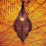 Lámpara Oriental Marroquí - lamparilla colgante - farola de techo Kihana dorado 40cm -...