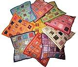 Funda de cojín cuadrada de algodón con bordado y mosaico diseño clásico para...