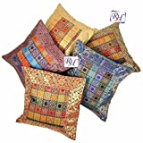 Juego de fundas para cojines hindúes bordados a mano Rastogi handicrafts, brocado de seda...
