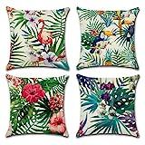 Gspirit 4 Pack Tropical Flamenco Flor Hojas Algodón Lino Throw Pillow Case Decorativo...