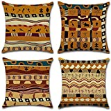 Gspirit 4 Pack Estilo étnico Africano Algodón Lino Throw Pillow Case Funda de Almohada...
