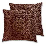 GUVICINIR Juego de 2 Fundas de cojín,Arte Árabe Antiguo Mandala Inspirado Adorno Redondo...