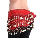 LQZ(TM) cinturón de seda para danza del vientre, para mujer o niña rojo Gratis, 150*30cm
