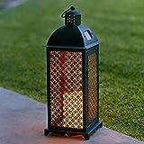 Lights4fun Farolillo Solar Metálico de Vela LED en Estilo Marroquí para Jardín y...