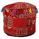Aakriti Gallery - Funda redonda para puf con bordado indio étnico, algodón indio, para...