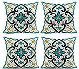 NSYNSY Juego de 4 Fundas de cojín de Lino, diseño de Azulejos españoles, sin Costuras,...